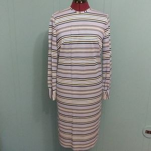 Vintage blue striped long sleeve dress